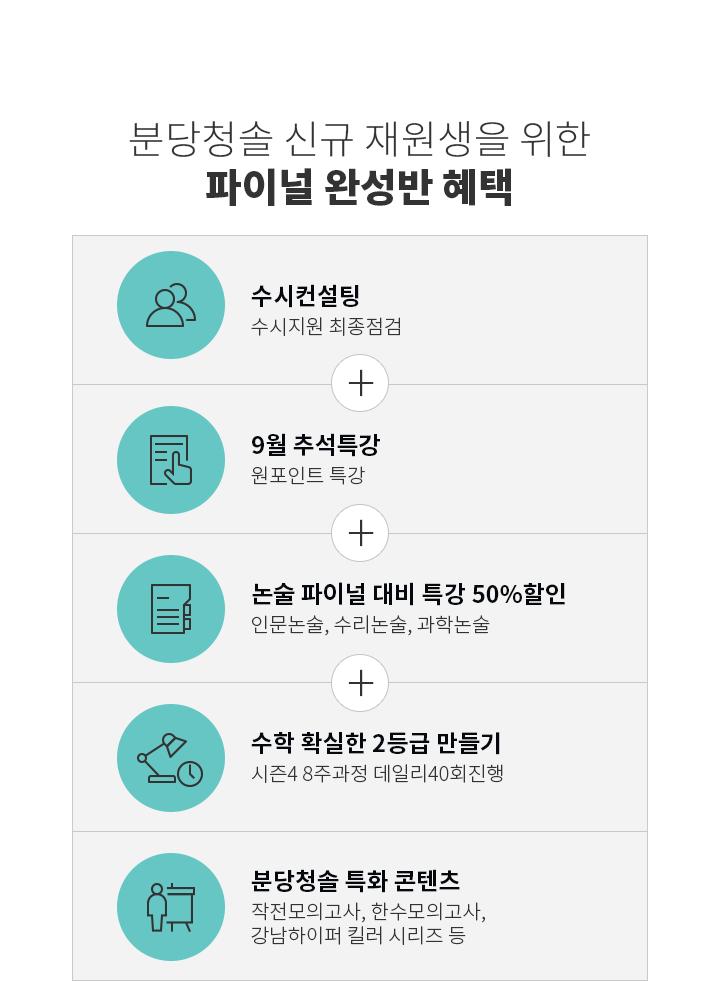 분당청솔 신규 재원생을 위한 파이널 완성반 혜택